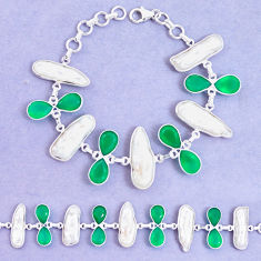 46.12cts natural green chalcedony biwa pearl 925 silver tennis bracelet p11965