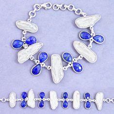 52.33cts natural blue lapis lazuli biwa pearl 925 silver tennis bracelet p11966
