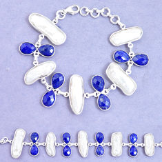 52.33cts natural blue lapis lazuli biwa pearl 925 silver tennis bracelet p11967