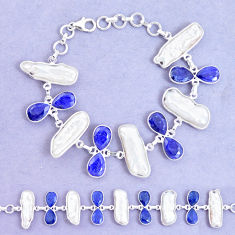 925 silver 50.48cts natural blue sapphire biwa pearl tennis bracelet p11968