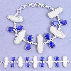 49.53cts natural blue sapphire biwa pearl 925 silver tennis bracelet p11969