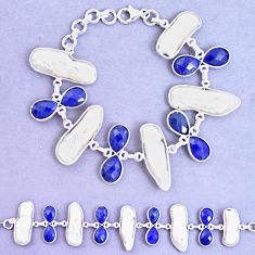 52.84cts natural blue sapphire biwa pearl 925 silver tennis bracelet p11970