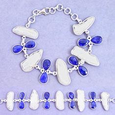 925 silver 51.13cts natural blue sapphire biwa pearl tennis bracelet p11972