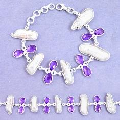 925 silver 43.32cts natural purple amethyst biwa pearl tennis bracelet p11976