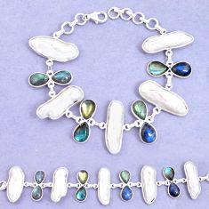 52.89cts natural blue labradorite biwa pearl 925 silver tennis bracelet p11978