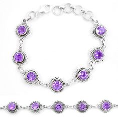 925 sterling silver 9.56cts natural purple amethyst tennis bracelet p13904