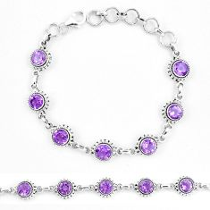 10.36cts natural purple amethyst 925 sterling silver tennis bracelet p13909