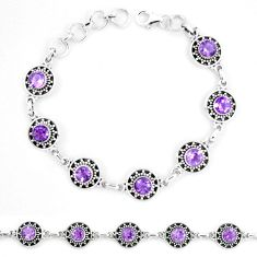 9.98cts natural purple amethyst 925 sterling silver tennis bracelet p13913