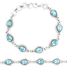 14.56cts natural blue topaz 925 sterling silver tennis bracelet jewelry p13948