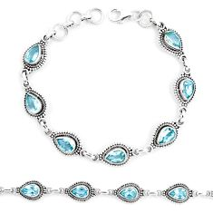 14.96cts natural blue topaz 925 sterling silver tennis bracelet jewelry p13950