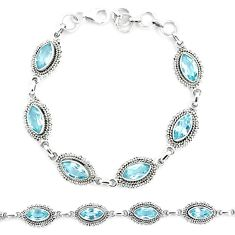 925 sterling silver 13.10cts natural blue topaz tennis bracelet jewelry p13954