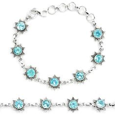 11.00cts natural blue topaz 925 sterling silver tennis bracelet jewelry p13959