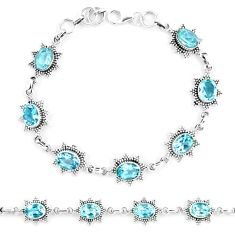 925 sterling silver 10.70cts natural blue topaz tennis bracelet jewelry p13960