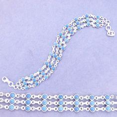 11.75cts natural blue owyhee opal 925 sterling silver tennis bracelet p13965