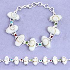 54.46cts natural white shiva eye garnet 925 silver tennis bracelet p19243