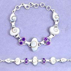 925 silver 32.84cts natural white shiva eye amethyst tennis bracelet p19244