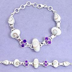 31.73cts natural white shiva eye amethyst 925 silver tennis bracelet p19245
