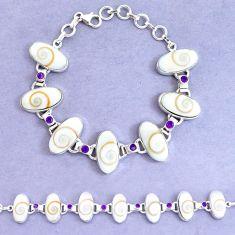 52.54cts natural white shiva eye amethyst 925 silver tennis bracelet p19246