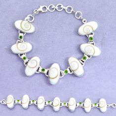 925 silver 52.87cts natural white shiva eye peridot tennis bracelet p19247