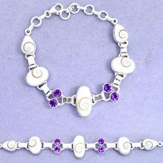 32.16cts natural white shiva eye amethyst 925 silver tennis bracelet p19248
