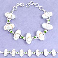 53.42cts natural white shiva eye peridot 925 silver tennis bracelet p19252