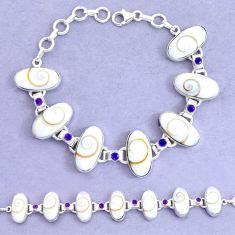 54.89cts natural white shiva eye amethyst 925 silver tennis bracelet p19253