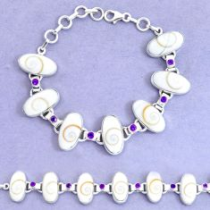 51.02cts natural white shiva eye amethyst 925 silver tennis bracelet p19254