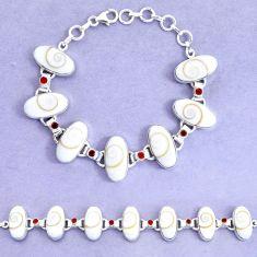 925 silver 57.65cts natural white shiva eye garnet tennis bracelet p19255