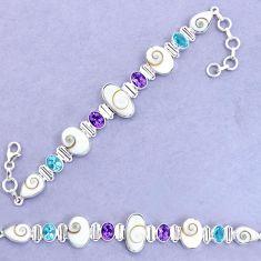 31.46cts natural white shiva eye amethyst 925 silver tennis bracelet p19256