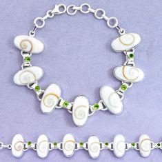 54.46cts natural white shiva eye peridot 925 silver tennis bracelet p19257