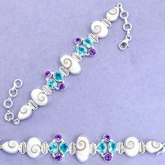 33.64cts natural white shiva eye amethyst 925 silver tennis bracelet p19258