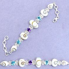 925 silver 30.44cts natural white shiva eye amethyst tennis bracelet p19259