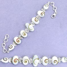 35.81cts natural white shiva eye 925 sterling silver tennis bracelet p19260