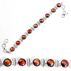 28.06cts natural multi color ammolite 925 silver tennis bracelet jewelry p19263
