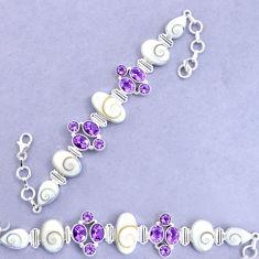 34.00cts natural white shiva eye amethyst 925 silver tennis bracelet p19282
