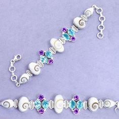 34.67cts natural white shiva eye amethyst 925 silver tennis bracelet p19283