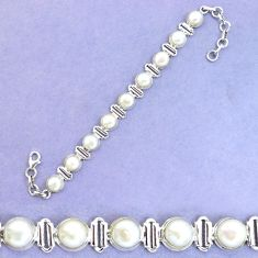 32.34cts natural white pearl 925 sterling silver tennis bracelet p19353