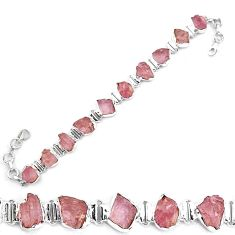 42.83cts natural pink kunzite rough 925 sterling silver tennis bracelet p19550