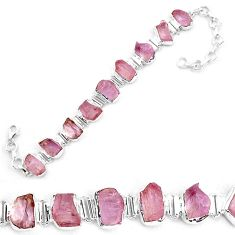45.65cts natural pink kunzite rough 925 sterling silver tennis bracelet p19551
