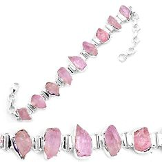 925 sterling silver 45.34cts natural pink kunzite rough tennis bracelet p19552