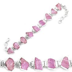 50.45cts natural pink kunzite rough 925 sterling silver tennis bracelet p19553