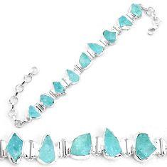 32.16cts natural aqua aquamarine rough 925 silver tennis bracelet p19556