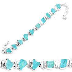 925 silver 34.21cts natural aqua aquamarine rough tennis bracelet jewelry p19557