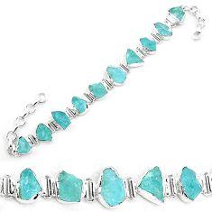 35.38cts natural aqua aquamarine rough 925 silver tennis bracelet p19558