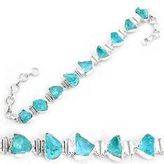 30.81cts natural aqua aquamarine rough 925 silver tennis bracelet p19559
