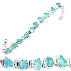 925 silver 34.19cts natural aqua aquamarine rough fancy tennis bracelet p19560