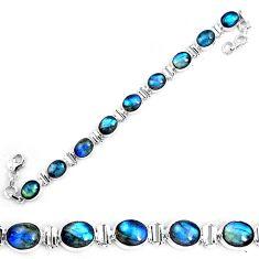 40.77cts natural blue labradorite 925 sterling silver tennis bracelet p19597