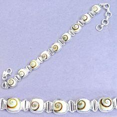 33.42cts natural white shiva eye 925 sterling silver tennis bracelet p20865