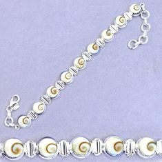 27.74cts natural white shiva eye 925 sterling silver tennis bracelet p20871
