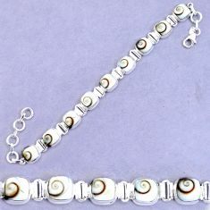 925 sterling silver 32.80cts natural white shiva eye tennis bracelet p20872